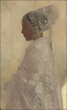 A maiden in contemplation, 1898: Gaston La Touche.