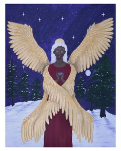 "• seraph • gouache and coloured pencil on paper, 18x24"" Creative block has been IMMENSE for me this year, but I am really pleased with how this piece turned out. Angels symbolize protection, wisdom, comfort, love, and messages being carried between earth and the divine. #angel #seraph #seraphim #angels #christmas #holidayseason #winter #painting #gouachepainting #art #artist #novascotiaartist #canadianartist #gouache #spiritualartwork"