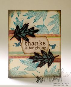 Autumn card made using @Amanda Snelson Harris Wings stamps. Love these unusual blue colors on the leaves.