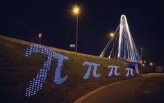 You can never have enough pi on #piday!  Not #pie, #pi!   #grafittilights #mathart #math #mathematics #geometry #symbol #bridge #nightphotography #pixelart #light #citylights #longexposure #longexpo_addiction