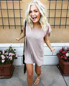 T-shirt dress and sandals.