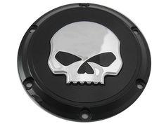 Chrome Skull Derby Cover Black For Harley Davidson Sportster XL 2004-UP Bobber #VTwinManufacturing