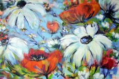 "Flower Field by Christina Kjelsmark - 40"" x 60"", Acrylic on Canvas - $5,250.00 - www.nordicartwork.com"