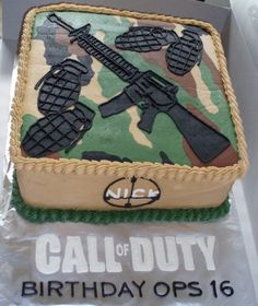 Short for Call of duty party supplies and ideas? This page is here to help and will provide you with all the things you need to complete this mission. So you have a gamer that wants to have a Call of Duty party huh. Army Birthday Parties, Army's Birthday, Birthday Cakes, Birthday Ideas, Call Of Duty Cakes, Gun Cakes, Army Cake, Camo Cakes, Camo Party