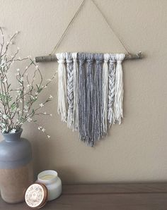 Modern Yarn Wall Hanging - Braided Gray & Ivory | Modern Decor - Boho Decor - Unique Decor - Wall Art - Wall Decor - Nuetral Decor