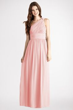 Subtle ruching highlights this flowy one  shoulder blush chiffon  dress  with a  flattering set  in  waist and floor  length skirt.