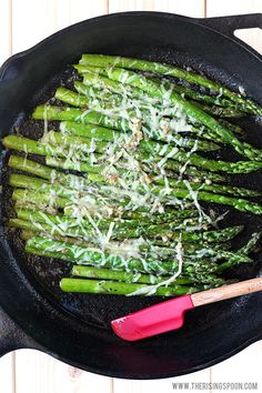 A quick & easy sauteed asparagus recipe with butter, garlic & shredded Parmesan cheese. In about 10 minutes or less, you'll have a simple side dish made with real food ingredients to accompany any meal. Pan Seared Asparagus, Sauteed Asparagus Recipe, Asparagus Skillet, Saute Asparagus, Parmesan Asparagus, Sauteed Vegetables, Garlic Parmesan, Veggies, Real Food Recipes