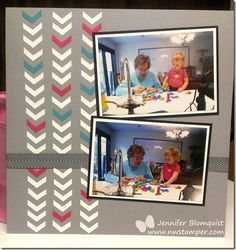 Scrapbooking Page using the Chevron Border Punch by Stampin' Up - #stampinup #scrapbooking #nwstamper #chevronpunch