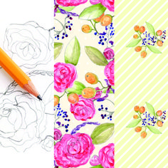 This past Summer, I wrote a pretty popular tutorial on how to get your hand drawn artwork into the computer so you can do stuff with Textile Patterns, Textile Design, Design Art, Textile Art, Sewing Patterns, Surface Pattern Design, Pattern Designs, Fibre And Fabric, Cute Crafts