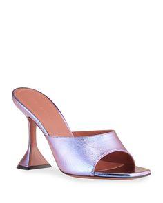 Amina Muaddi Lupita Metallic Pedestal Slide Sandals | Neiman Marcus Napa Leather, How To Make Shoes, Shoe Closet, Luxury Shoes, Slide Sandals, Pedestal, Leather Sandals, Neiman Marcus, Heeled Mules