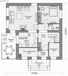 Кирпичный дом, проект № M-168-1K - 1-й этаж