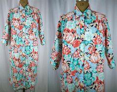 vtg MODELS COAT Mod Bold Floral Duster Day House Dress Snaps Rockabilly 14 L EUC #Models Coat