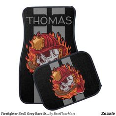 Shop Firefighter Skull Grey Race Stripes Personalized Car Mat created by BestFloorMats. When Is Fathers Day, Gifts For Father, Car Mats, Car Floor Mats, Im Sorry Gifts, Cool Car Accessories, Firefighter, Cool Cars, Special Gifts