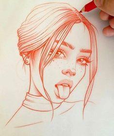 Schlag des Herzens: die Zeichnungen in Rot von Rik Lee - Zeichnungen - Drawing Art Drawings Sketches, Easy Drawings, Tumblr Art Drawings, Skull Drawings, Girl Drawings, Realistic Drawings, Pretty Drawings Of Girls, Line Drawing Tumblr, Animae Drawings
