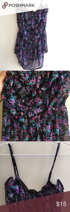 Floral chiffon thin strap blouse Excellent used condition. Lots of ruffles, sheer, buttons down the middle all intact, cinched at the waist. No tears or stains. Smoke & pet free home. Forever 21 Tops Tank Tops