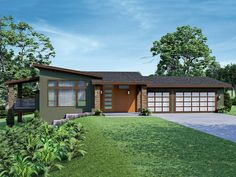 051H-0361: Unique 1-Story House Plan with Modern Flair Contemporary Style Homes, Contemporary House Plans, Modern House Plans, Contemporary Bathrooms, Hillside House, Floor Framing, Home Design Plans, Plan Design, Thing 1