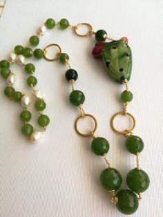 Ceramic Necklace Caltagirone and semiprecious stones agate Green, Sicilian necklace Coral Jewelry, Jewelry Sets, Diamond Jewelry, Beaded Jewelry, Handmade Jewelry, Ceramic Necklace, Green Agate, Necklace Online, Cactus