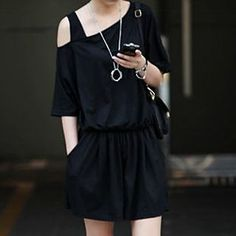 Buy 'Champi – Plain Asymmetric Playsuit' with Free International Shipping at YesStyle.com. Browse and shop for thousands of Asian fashion items from China and more!