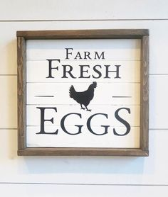 This Farm Fresh Eggs complete with rooster, sign will look great on the kitchen wall or shelf. DIMENSIONS