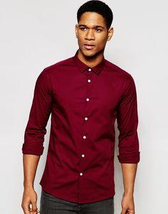 Image 1 ofASOS Skinny Shirt In Burgundy With Long Sleeve