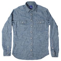 Sea Washed Chambray Stripe Glacier Shirt: Featured Product Image