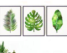 Green Palm Leaf Watercolor Print, Tropical Wall Art, Botanical Print Set of Monstera Print, Palm Leaf Print, Banana Leaf Print Art Tropical, Tropical Home Decor, Tropical Houses, Tropical Furniture, Tropical Interior, Tropical Colors, Watercolor Paint Set, Watercolor Paintings, Leaf Paintings