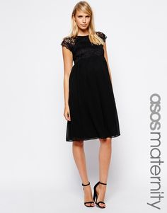 Laced Top Black Maternity Dress from @asos - love the look!