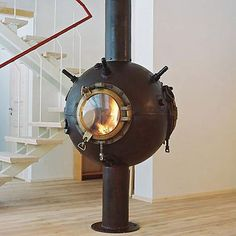 Steampunk Stove - Russian artist Mati Karmin takes old Soviet deep-sea mines and turns them into amazing steampunk furniture