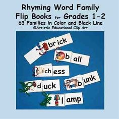 These 63 Word Family Flip Books include an assortment of phonics skills to practice many of the words and sounds that are introduced in most first and second grade classes. They are useful for intervention in first, second, and third grade. These little flipbooks are helpful in building student confidence.
