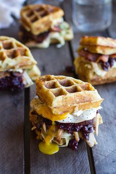 Turkey, Smashed Avocado, Cranberry, Brie and Mashed Potato Waffle Melts | halfbaked harvest