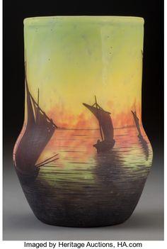 Daum - Overlay Glass Sailing Boats at Sunset Vase. Circa 1900. Cameo Daum, Nancy (Cross of Lorraine). Ht. 7-5/8 inches. $ 2000