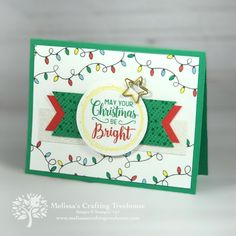 Project featuring the All Is Bright Product Suite from the 2018 Holiday Catalog by Stampin' Up! This was a Team make n' take for out July team gathering. Christmas Cards 2018, Homemade Christmas Cards, Stampin Up Christmas, Christmas Greeting Cards, Handmade Christmas, Holiday Cards, Christmas 2019, Silver Christmas Decorations, Christmas Bulbs