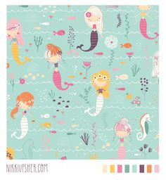 Buy Final_Mermaid_Pattern_larger custom fabric, wallpaper and home accessories by nikki_upsher on Spoonflower Unicorns And Mermaids, Real Mermaids, Mermaid Illustration, Pattern Illustration, Mermaid Nursery, Mermaid Room, Mermaid Fabric, Cute Mermaid, Lines For Girls