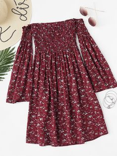 Off Shoulder Bell Sleeve Calico Print Dress - Off Shoulder Bell Sleeve Calico Print DressFor Women-romwe - Girls Fashion Clothes, Teen Fashion Outfits, Mode Outfits, Dress Outfits, Girl Outfits, Fashion Dresses, Fashion Ideas, Cute Summer Outfits, Cute Casual Outfits