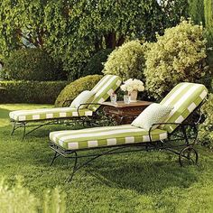 Ellington Wrought Iron Chaise with Resort Stripe Cushions