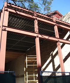A custom structural steel fabrication and installation for a store front in Chicago.
