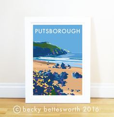 Putsborough vintage style travel poster and seaside print forms part of the British Coastlines travel art collection. Created by Devon Artist Becky Bettesworth. Railway Posters, Travel Posters, Bathroom Pictures, Kitchen Wall Art, Devon, Vintage Fashion, Vintage Style, Seaside, Poster Prints