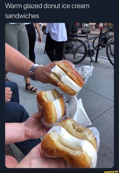 food-porn-diary: Warm glazed donut ice cream sandwiches food-porn-diary: Warm glazed donut ice cream sandwiches everybody loves to eat July 16 2019 at I Love Food, Good Food, Yummy Food, Tasty, Donut Ice Cream, Junk Food Snacks, Food Porn, Food Goals, Aesthetic Food