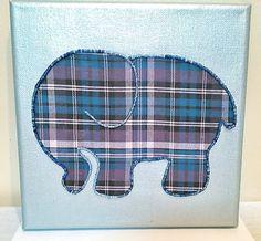Plaid Elephant Beaded Artwork  Purple and by DumomentsGiftsnArts