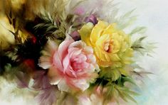 Beautiful oil paint of roses by Gary Jenkins