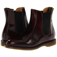 Dr. Martens Flora Chelsea Boot (Burgundy Classic Rub Off) Women's... ($140) ❤ liked on Polyvore featuring shoes, boots, ankle booties, ankle boots, burgundy ankle boots, leather boots, burgundy lace up booties, lace-up bootie and burgundy bootie