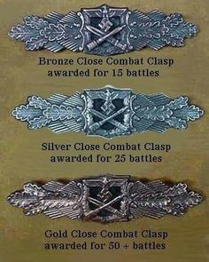 Close combat Clasp ,  Bronze, Silver , Gold - III Reich