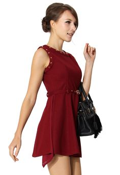 Stud Detail Sleeveless Dress in Red