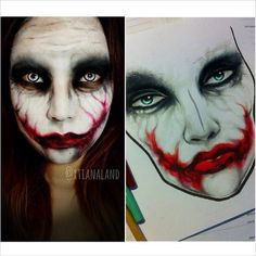 Holy crap this is dope - check out @xtianaland awesome make up and special effects artist - homegirl turned this joker face chart I did a while back to life... So fucking dope ❤️❤️ - @fevur- #webstagram