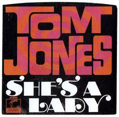 "Tom Jones ""She's a Lady"" (1971) — 45 rpm Record Sleeve"