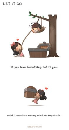 If you love something let it go. just catch it and run away with it! support HJ-Story on Patreon Let it go. Cute Couple Comics, Cute Couple Cartoon, Couples Comics, Cute Cartoon, Cute Love Stories, Cute Love Quotes, Love Story, Cartoon Love Quotes, Funny Quotes
