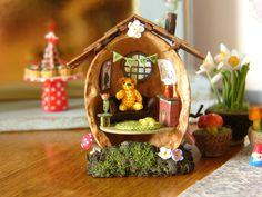 #PoohBear walnut house. #microcrochet pooh is just 9mm tall!