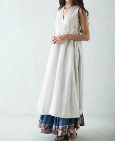 Beautiful Angrakha cotton kurti with gheredar pant.