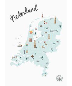 Bestel deze geïllustreerde poster Nederland in Kaart in het blauw eenvoudig en snel in onze webshop. Wie maak jij blij met dit leuke cadeau?
