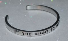 The Right To Bear Arms / Engraved, Polished Bracelet + Gift Bag #Handmade #Cuff